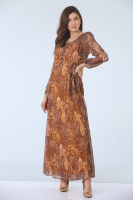 Şal Desenli Cepli Şifon Elbise - Sarı