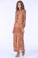 Şal Desenli Elbise - Sarı