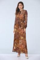 Şal Desenli Şifon Elbise - Sarı