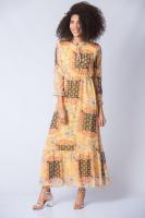 Desenli Şifon Elbise - Sarı