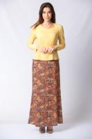 Belden Oturtmalı Şal Desenli Elbise - Sarı