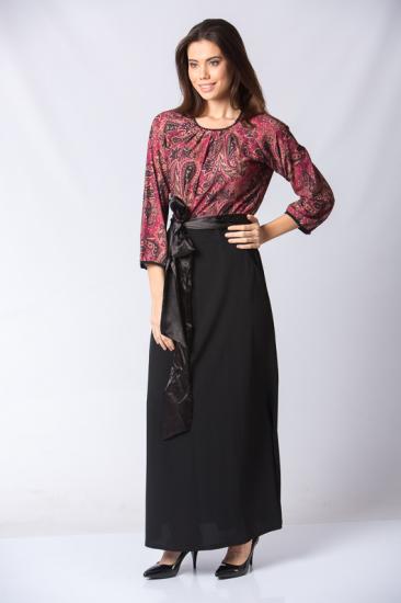 Şal Desenli Beli Kuşaklı Elbise - Mercan