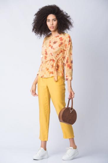 Bağcık Detaylı Desenli Şifon Bluz - Sarı