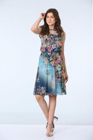 Belden Büzgülü Desen Elbise - Mavi