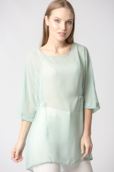 Beli Lastikli Yarasa Kol Bluz - Açık Yeşil