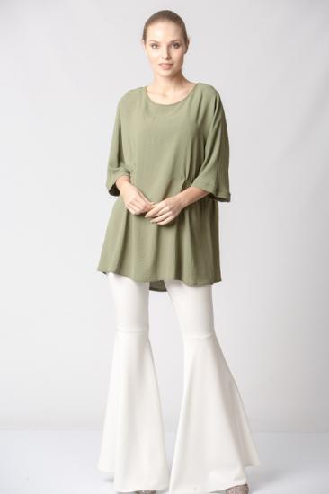 Beli Lastikli Yarasa Kol Bluz - Yeşil