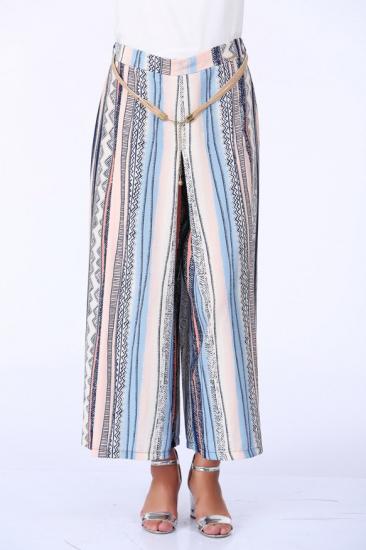 Boydan Çizgili Geniş Pantolon - Somon
