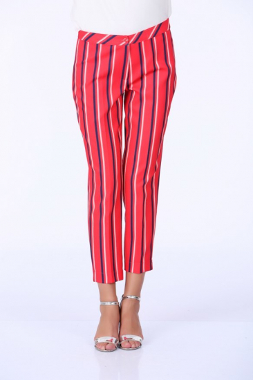 Boydan Çizgili Kumaş Pantolon - Mercan