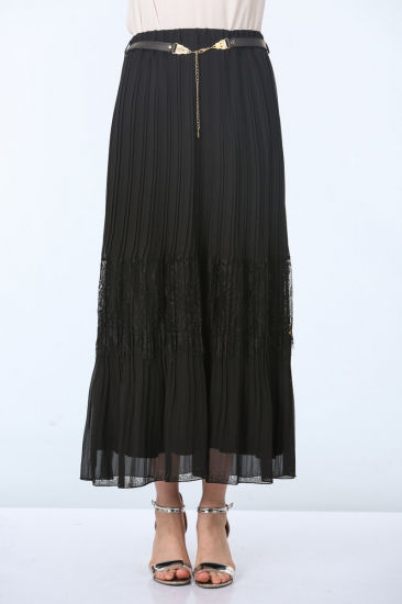 Dantel Detaylı Etek - Siyah