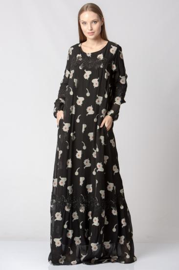 Dantel Detaylı Çiçekli Elbise - Krem