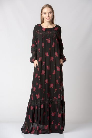 Dantel Detaylı Çiçekli Şifon Elbise - Kırmızı