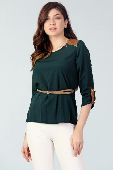 Deri Detaylı Bluz - Yeşil