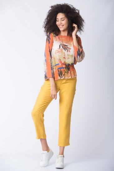 Desenli Büzgü Bel Bluz - Sarı