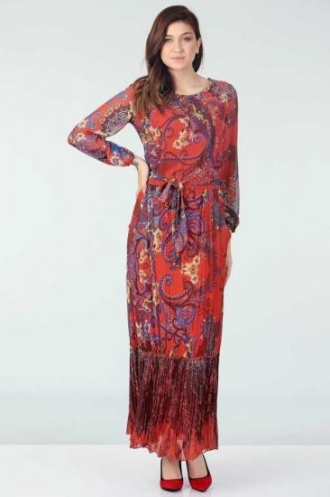 Desenli Şifon Elbise - Mercan