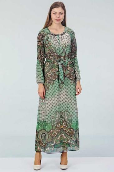 Desenli Şifon Elbise - Yeşil