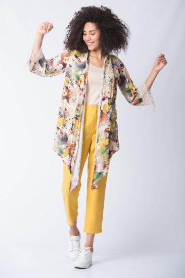 Desenli Viskon Kimono - Sarı
