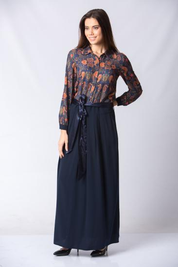 Düğmeli Beli Kuşaklı Elbise - Lacivert
