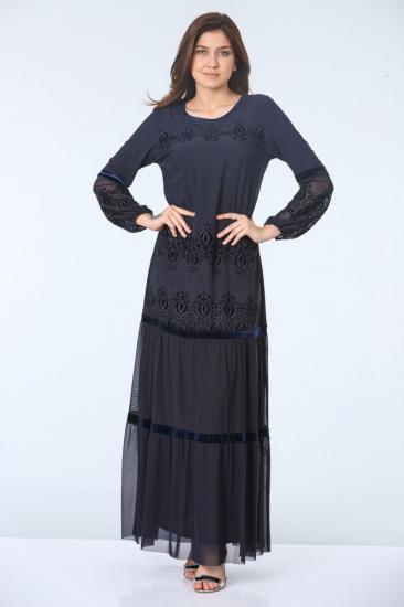 Drop Baskılı İşlemeli Abiye Elbise - Lacivert