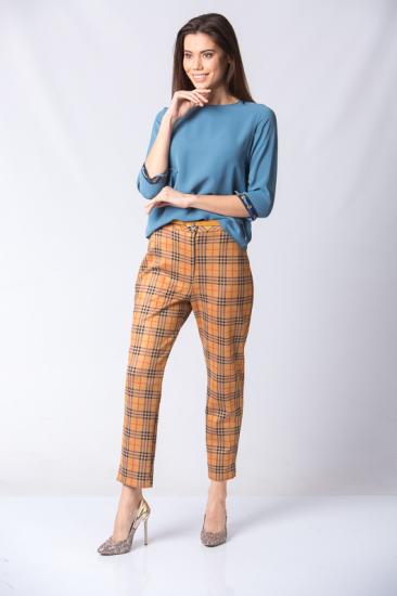 Ekose Desenli Pantolon - Hardal