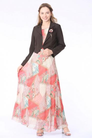 Elbise - Ceket İkili Takım - Fuşya