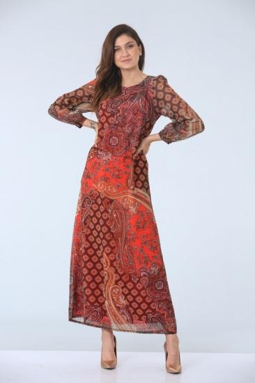 Empirme Desenli Elbise - Mercan