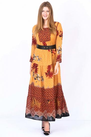 Empirme Desenli Elbise - Sarı