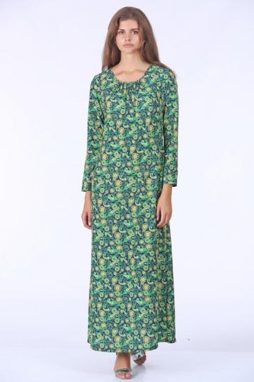 Empirme Desenli Elbise - Yeşil