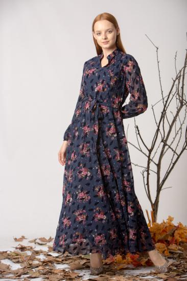 Flok Baskılı Desenli Şifon Elbise - Lacivert