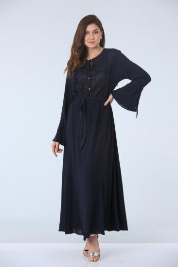 Fırfırlı Elbise - Lacivert