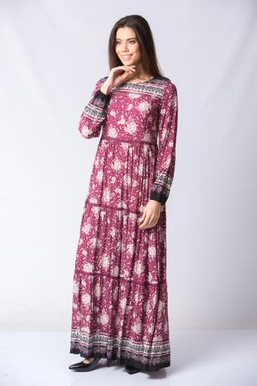 Çiçek Desen Elbise - Bordo
