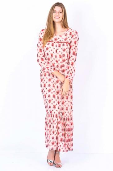 Çiçek Desenli Elbise - Mercan