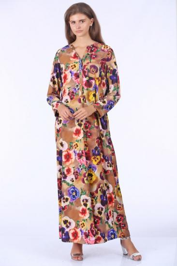 Çiçek Desenli Uzun Elbise - Kahve