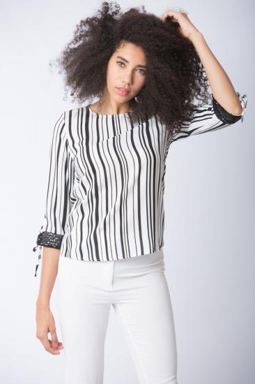Çizgili Bluz - Siyah-Beyaz