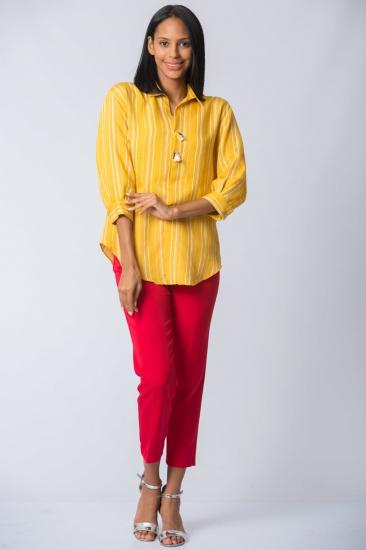 Çizgili Yarasa Kollu Bluz - Sarı