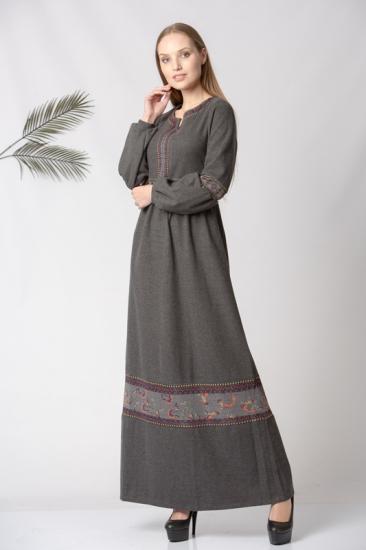 Kemeri Desenli Elbise - Gri