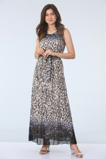 Kemerli Empirme Desen Elbise - Lacivert