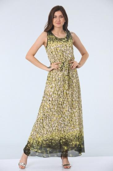 Kemerli Empirme Desen Elbise - Sarı