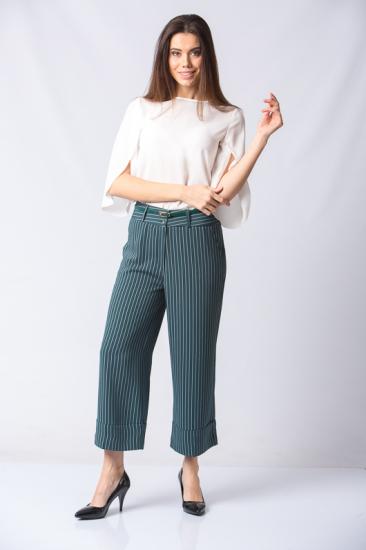 Kemerli Çizgili Pantolon - Mint
