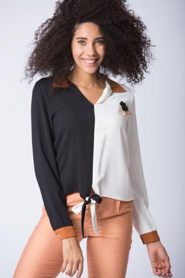 İki Renkli Gömlek - Siyah
