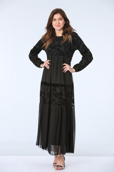 Kolları Tül Detaylı Abiye Elbise - Siyah
