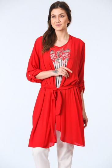 Kuşak Kemerli Tunik İkili Takım - Kırmızı