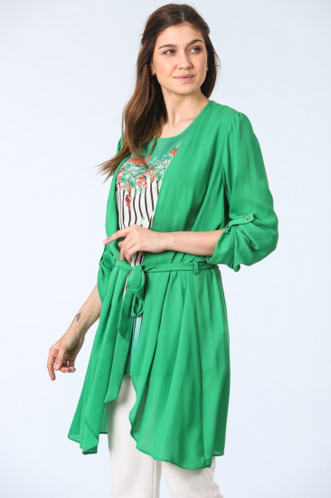 Kuşak Kemerli Tunik İkili Takım - Yeşil