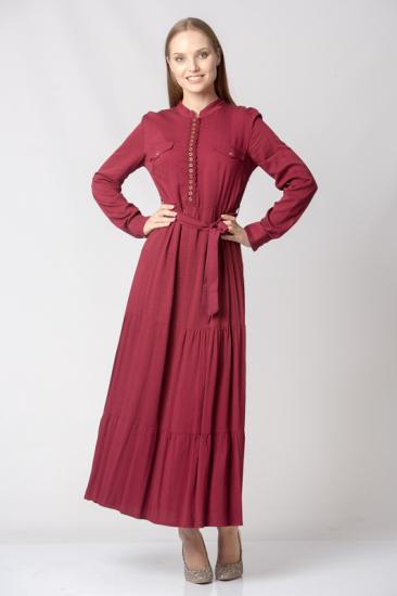 Kuşaklı Önden Düğmeli Elbise - Bordo