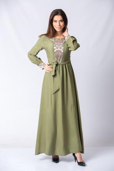 İşleme Detaylı Kuşaklı Elbise - Yeşil