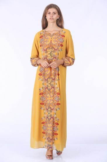 İşlemeli Elbise - Sarı