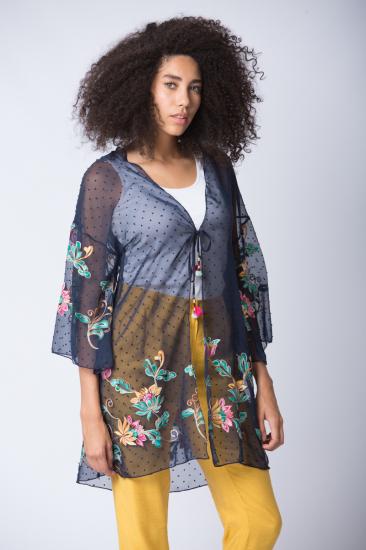 Nakış İşlemeli Kimono - Lacivert