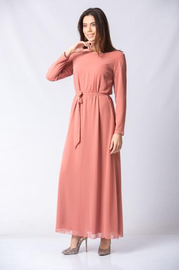 İnci Detaylı Kuşaklı Elbise - Pudra