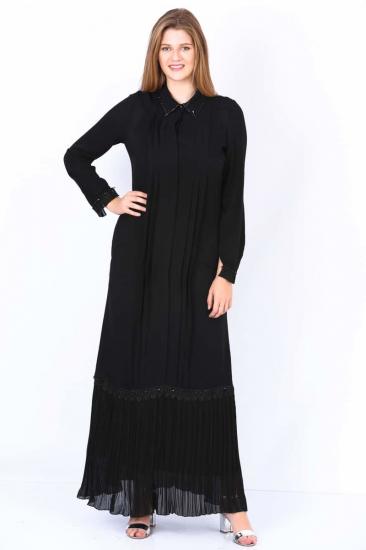 Pileli İkili Elbise Takım - Siyah