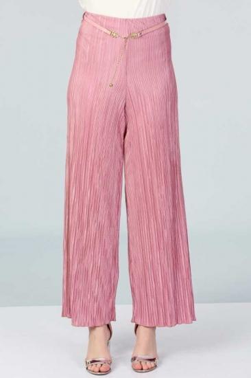 Piliseli Pantolon - Pembe