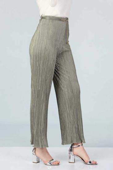 Piliseli Pantolon - Yeşil